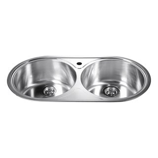 Dawn Top Mount Round Equal Double Bowl Sink with 1 Hole