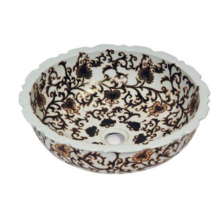 Dawn Ceramic Hand Engraved and Hand-painted Vessel Sink Round Shape