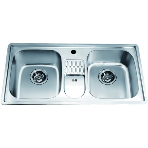 Dawn Top Mount Equal Double Bowl Sink With Integral Drain Board And 1 Hole