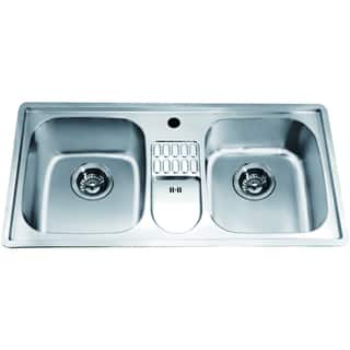 Dawn usa kitchen sinks for less overstock dawn top mount equal double bowl sink with integral drain board and 1 hole workwithnaturefo