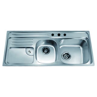 Dawn Top Mount Double Bowl Sink with Integral Drain Board and 3 Holes (large Bowl On Right)|https://ak1.ostkcdn.com/images/products/10704611/P17764654.jpg?impolicy=medium