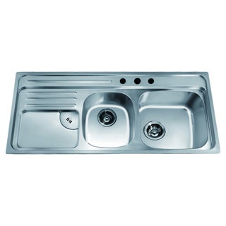 Dawn Top Mount Double Bowl Sink With Integral Drain Board And 3 Holes  (large Bowl
