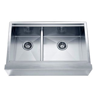 Dawn Undermount Double Bowl with Straight Apron Front Sink (Small Bowl On Left)