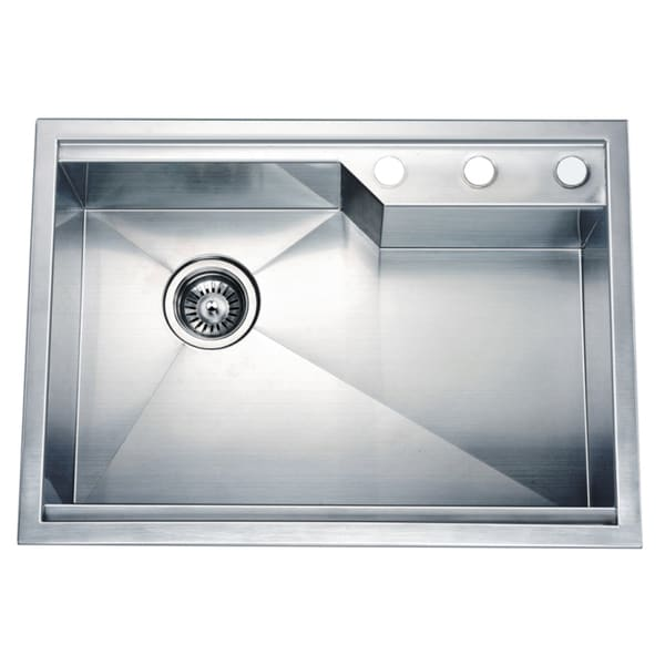 Dawn Dual Mount Square Single Bowl Sink With Rear Corner Drain And 3 Holes