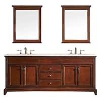 Eviva Elite Stamford® Brown Bathroom Vanity Set with Marble Top and Undermount Porcelain Sinks