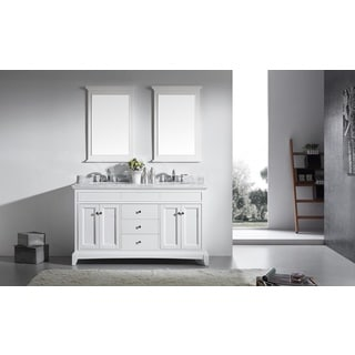 Eviva Elite Stamford 60-inch White Bathroom Vanity Set with Double OG Carrera Marble Top, and Undermount Porcelain Sinks