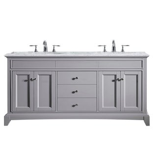 Eviva Elite Stamford® 72 Inch Grey Bathroom Vanity Set with Double OG White Carrera Marble Top and Undermount Porcelain Sinks