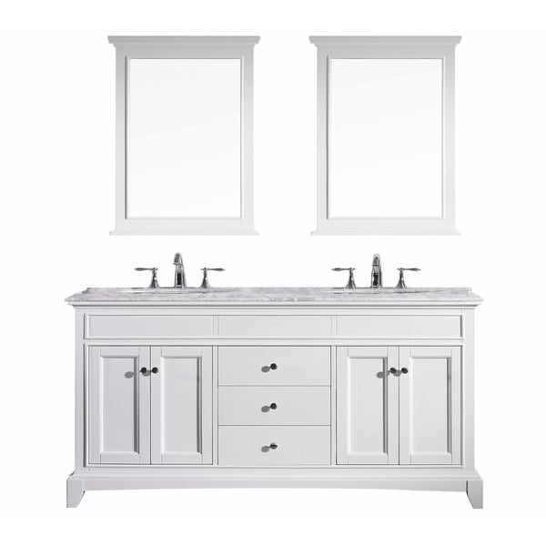 Eviva Elite Stamford® White Bathroom Vanity Set with Carrera Marble Top and White Undermount Porcelain Sinks