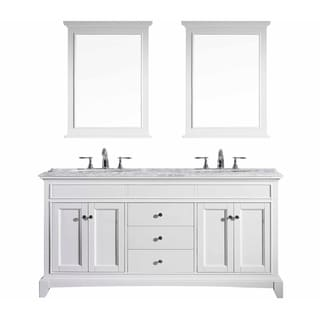 Eviva Elite Stamford® White Bathroom Vanity Set with Carrera Marble Top and White Undermount Porcelain Sinks