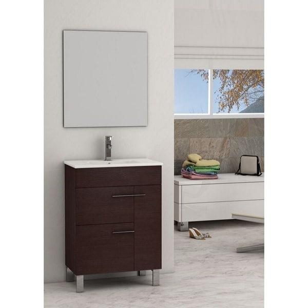 Eviva Cup® 24 Inch Wenge Dark Brown Bathroom Vanity with White Integrated Porcelain Sink