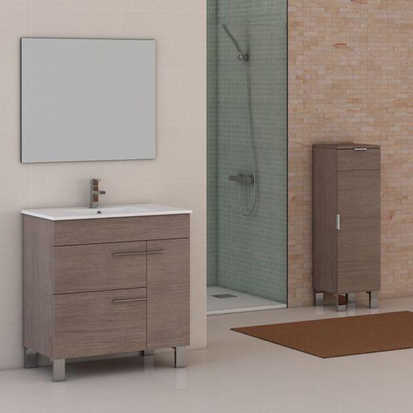 Eviva Cup® 31.5 Inch Medium Oak Modern Bathroom Vanity With White  Integrated Porcelain Sink