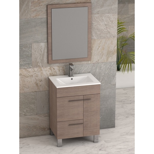 Eviva Cup 24-inch Medium Oak Modern Bathroom Vanity with White Integrated Porcelain Sink