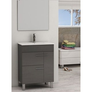 Eviva Cup® 24 Inch Grey Modern Bathroom Vanity with White Integrated Porcelain Sink