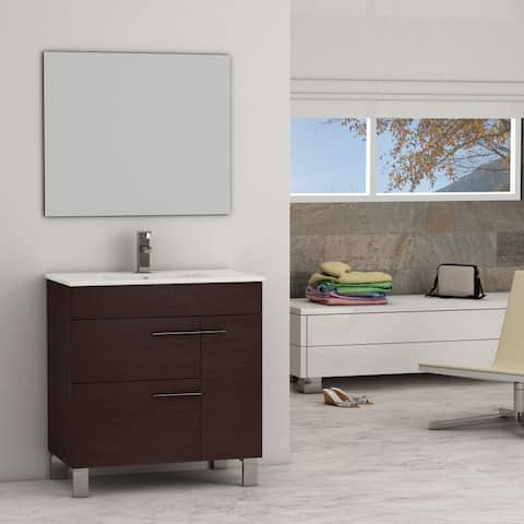 Eviva Cup? Wenge Modern Bathroom Vanity with White Integrated Porcelain Sink
