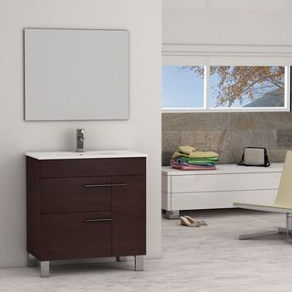 Eviva Cup® Wenge Modern Bathroom Vanity with White Integrated Porcelain Sink