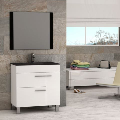 Eviva Cup 31.5-inch White Modern Bathroom Vanity with White Integrated Porcelain Sink