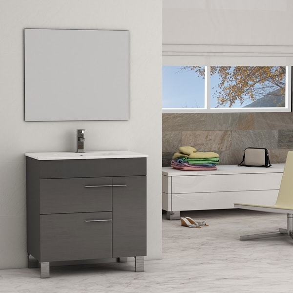 Shop Eviva Cup® Grey Modern Bathroom Vanity With White Integrated Porcelain Sink