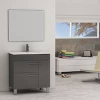 Eviva Cup® Grey Modern Bathroom Vanity with White Integrated Porcelain Sink