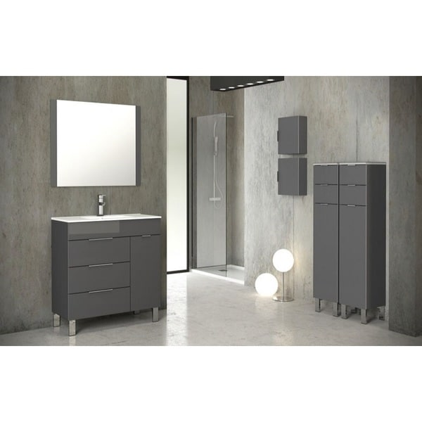 Eviva GeminisR 28 Inch Grey Modern Bathroom Vanity With White Integrated Porcelain Sink
