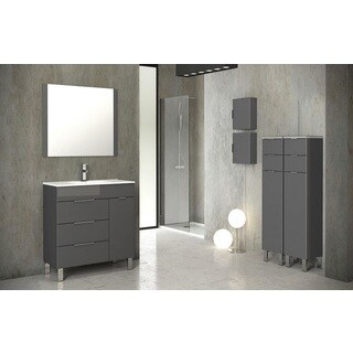 Eviva Geminis® 28 Inch Grey Modern Bathroom Vanity with White Integrated Porcelain Sink