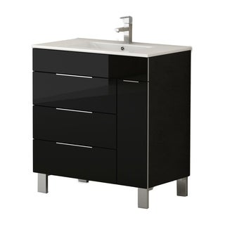 Eviva Geminis 28-inch Black Modern Bathroom Vanity with White Integrated Porcelain Sink