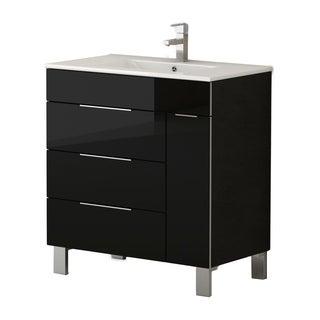"""Eviva Geminis 28"""" Black Bathroom Vanity with Sink"""