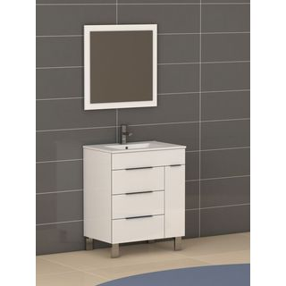 Eviva Geminis® 28 Inch White Modern Bathroom Vanity with White Integrated Porcelain Sink