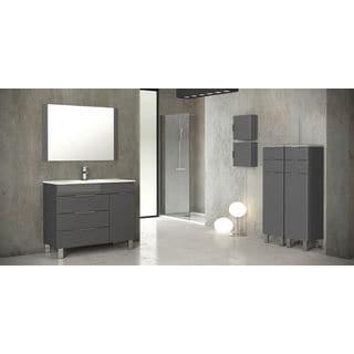 Eviva Geminis® Grey Modern Bathroom Vanity with Integrated White Porcelain Sink