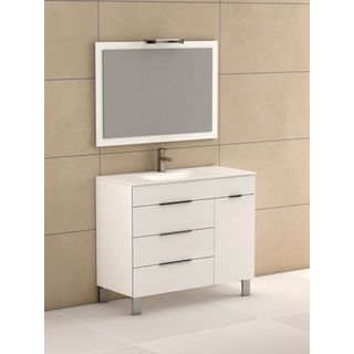 Eviva Geminis® 39 Inch White Modern Bathroom Vanity with White Integrated Porcelain Sink