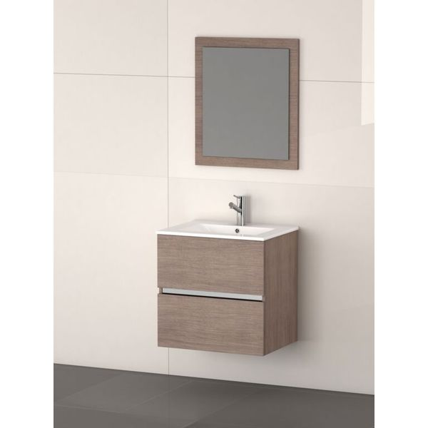eviva ikaro medium oak modern wall mount bathroom vanity with integrated porcelain sink free