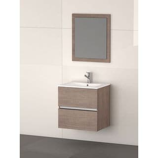 Eviva Ikaro® Medium Oak Modern Wall Mount Bathroom Vanity with Integrated Porcelain Sink