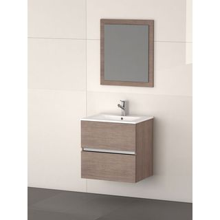 Eviva Ikaro® Medium Oak Modern Wall Mount Bathroom Vanity with Integrated Porcelain Sink