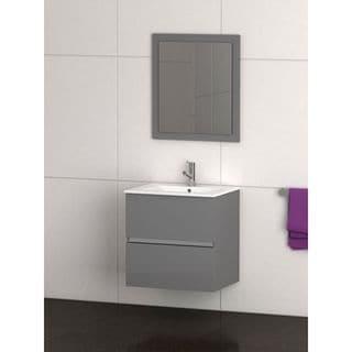 Eviva Ikaro® 24 Inch Grey Modern Bathroom Vanity Wall Mount with White Integrated Porcelain Sink