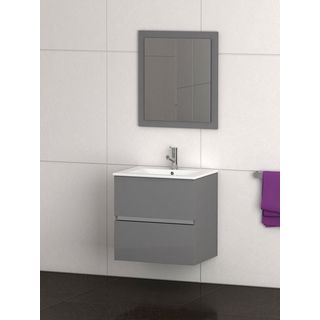 Eviva Ikaro® 24 Inch Grey Modern Bathroom Vanity Wall Mount with White Integrated Porcelain Sink