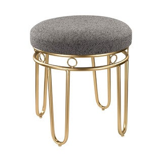 Sterling Industries Grey Linen Stool with Gold Legs