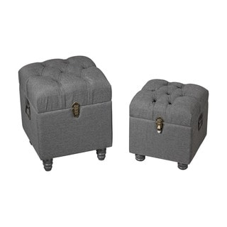 Sterling Grey Linen Storage Benches