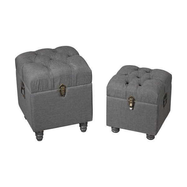 Sterling Grey Linen Storage Benches Free Shipping Today