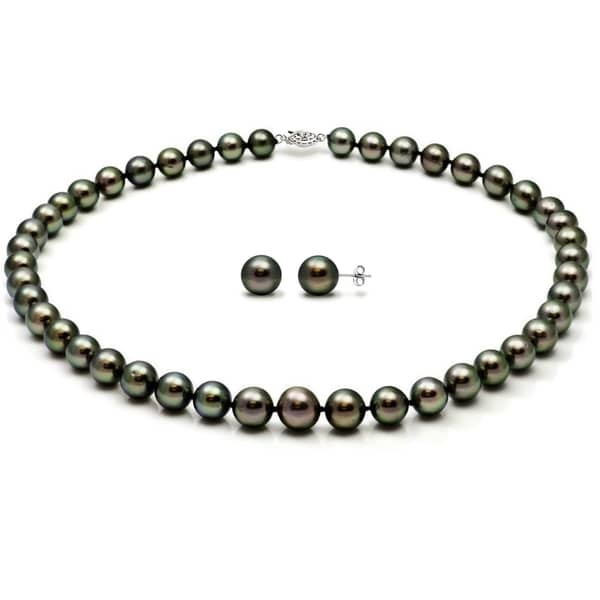 Shop DaVonna 14k White Gold Black Tahitian Pearl Necklace ...