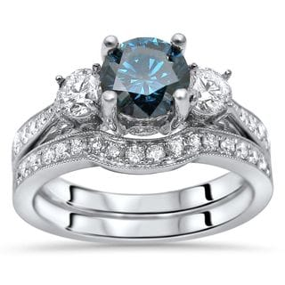 Noori 14k White Gold 1 1/2ct TDW Blue Three Stone Diamond Engagement Ring Set (G-H, SI1-SI2)