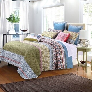 Greenland Home Fashions Shangri-La Oversized Cotton 3-piece Quilt Set