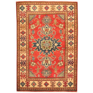 Herat Oriental Afghan Hand-knotted Tribal Kazak Red/ Ivory Wool Rug (3'3 x 4'9)