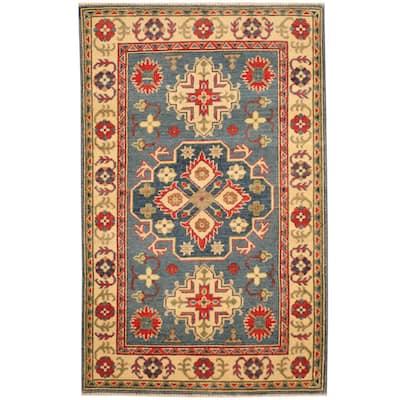 Handmade One-of-a-Kind Kazak Wool Rug (Afghanistan) - 3'1 x 4'10