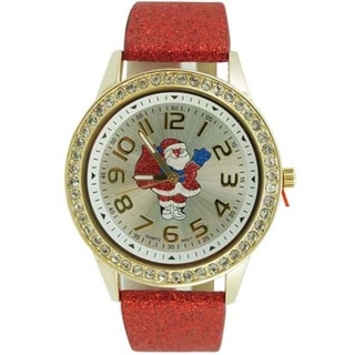 Women's Christmas Watch with Easy Read Santa Claus Crystal Bezel Dial, and Red Glitter Faux Leather Band