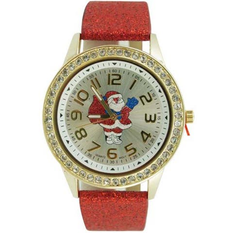 Christmas Watch Easy Read Santa Claus Dial Red Glitter Faux Leather Band