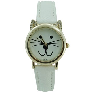 Women's Cat Face Watch with Crystal Ears, and Faux Leather Band