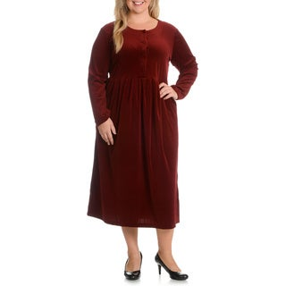 La Cera Women's Plus Size Solid Velour Dress
