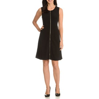 Nina Leonard Women's Expose Front Zipper Dress