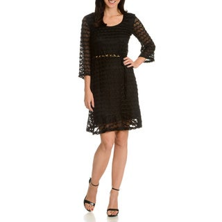 Nina Leonard Women's Diagonal Mesh Pattern Dress