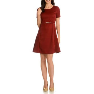 Nina Leonard Women's Textured Round Neck Short Sleeve Dress