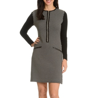 Nina Leonard Women's Geometric Print Sweater Dress